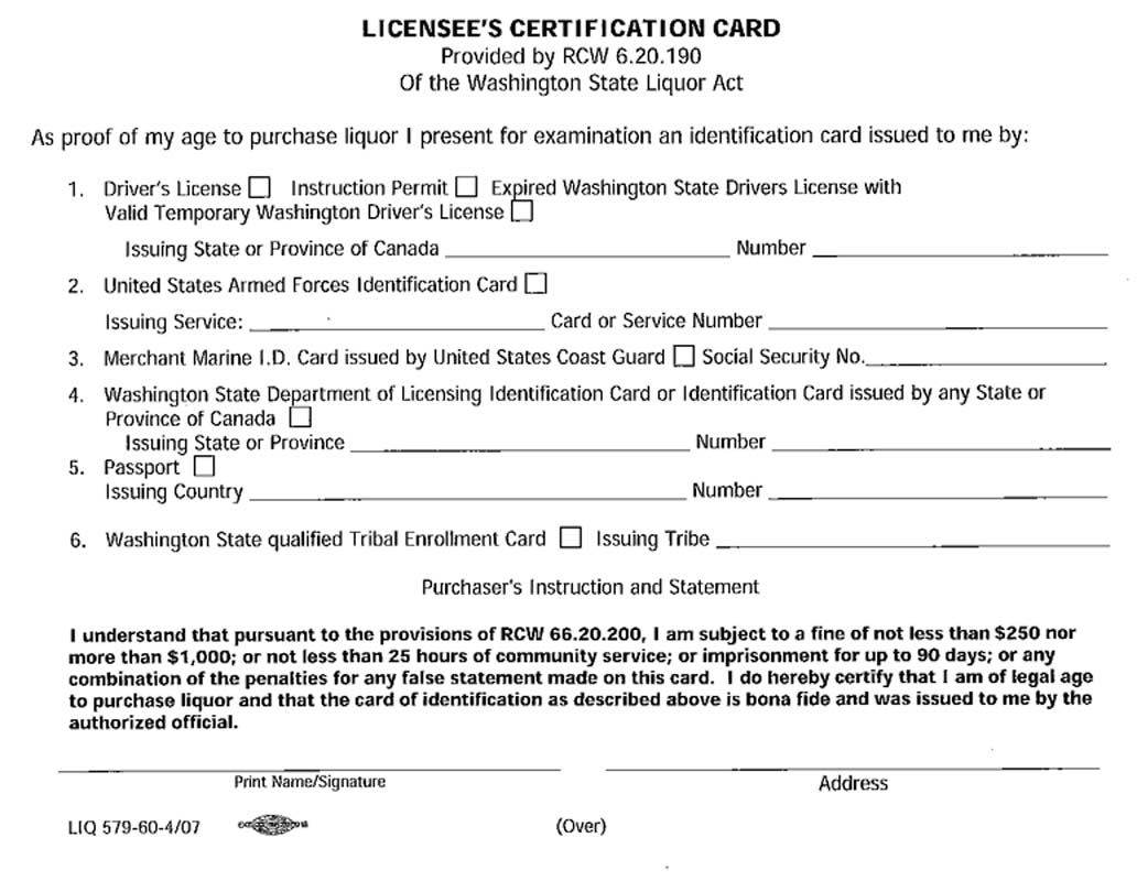 Washington Licensees Certification Card download